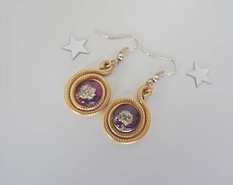 Glass cabochon, OOAK earrings