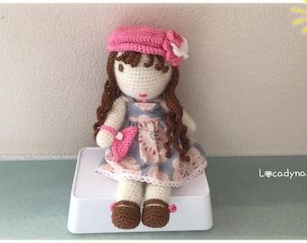 Doll Amigurumi Agathe-birthday gift kids room or Christmas-Hand made toy plush doll-pink blue white-Crochet Amigurumi Doll