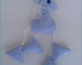 Blue and white funny giraffe for babies / children. Birthstone gift idea.