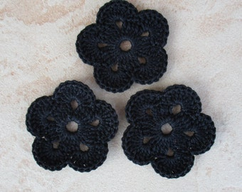 set of 3 black flowers 5 petals crochet