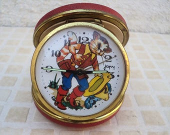 old mechanical alarm clock by brand japy the Puss voyage