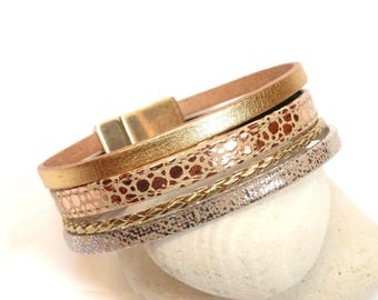 Gold Leather magnetic Cuff Bracelet