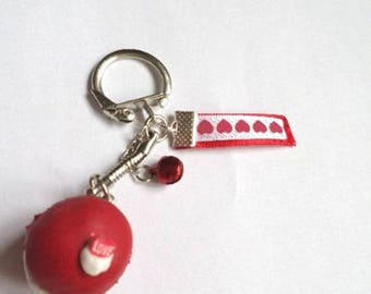 Keychain red macaroon and polymer clay Red Bell