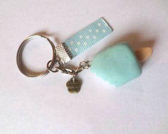 Keychain blue Eskimo crunched in Fimo