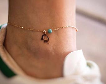 Hand-made Gold Elephant Anklet / Gold Anklet Available in 14k Gold, White Gold or Rose Gold
