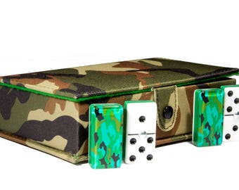 Camouflage Domino 100% Acrylic, Faux Leather Case