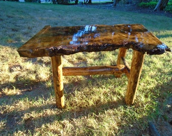 Copper Inlaid Burl Maple Coffee Table