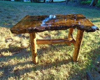 Copper Inlaid Burl Maple Coffee Table