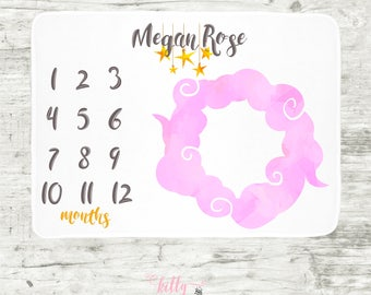 Pink Cloud Baby Milestone Blanket, Baby Girl Milestone Blanket, Month Baby Blanket, Personalized Baby Blankie, Cloud and Stars Baby Blanket