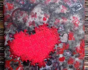 Contemporary painting, red and black heart