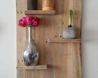 Pallet wood wall shelf