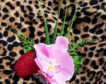 Pink Orchid and Strawberry Hair Flower