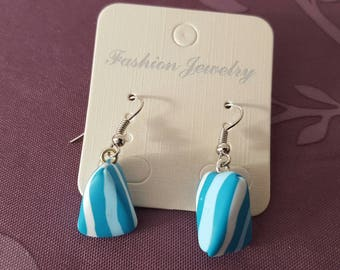 """""""Mint humbug"""" hook earrings with polymer clay"""