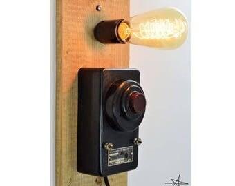 DISJONCTEE. Applique. Lamp. Vintage. Industrial. Recycling. Bakelite. Unusual. Unique. Original. Gift for him. Gift for her