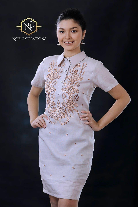Modern filipiniana dress linen barong tagalog philippine for Barong tagalog wedding dress