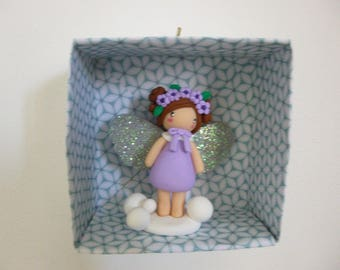 Little angel with wings glitter polymer clay