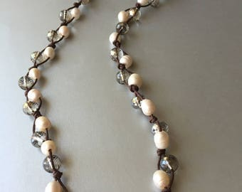 Pearl and Crystal Braided Necklace- Beach Girls Beads and Bling