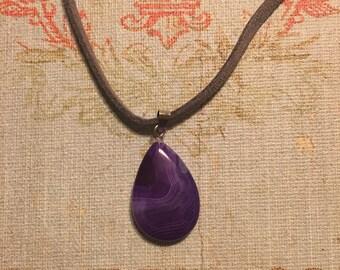 Purple Swirl Teardrop Necklace