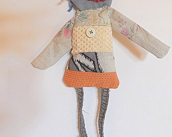 Recycled cloth, textile doll