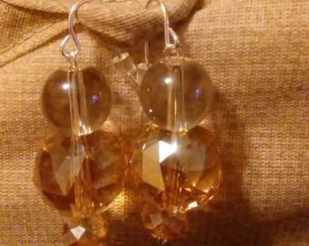 Champagne colored dangle earrings