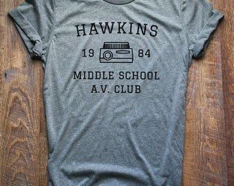 Stranger Things Shirt // Hawkins Middle School A.V. Club // Upside Down Shirt // Stranger Things Tee