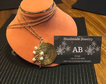 Gold filled Necklace with Spiral pendant