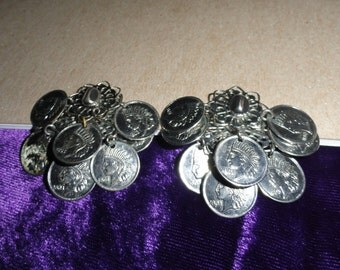 Silver Tone Vintage Unsigned Faux Indian Head Coin Dangle Earrings Clip On Chandelier Dangle SHIPS FREE