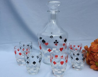 Vintage Decanter and 6 Shot Glasses Playing Cards made in France