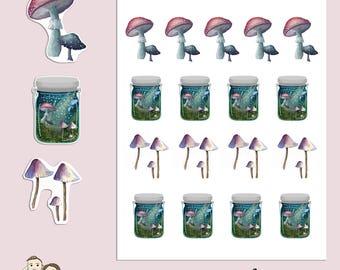 MUSHROOMS & JARS   Spring   Magical   Planner Stickers   Hand Drawn   Erin Condren   TN   S186