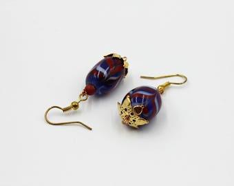 Antique Colored Dvaravati Dangle and Drop Earrings