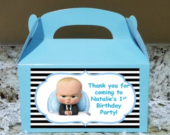 SALE! 12+ Labels Or Boxes & Labels 12 Boss Baby Treat Boxes, Boss Baby Gable Boxes, Boss Baby Candy Boxes, Boss Baby Party Boxes