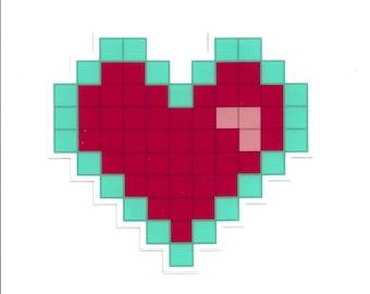 8bit Heart Vinyl Sticker