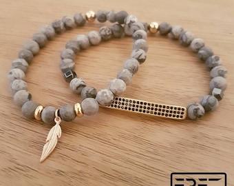 Feather men bracelet, men bracelet set, gray men bracelet, men gift, men jewelry set, gold feather bracelet