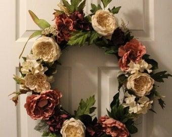 Soft Pink Wreath | Front Door Wreath | Autumn Wreath