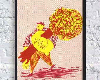 Hand Pulled Illustration Screen Print