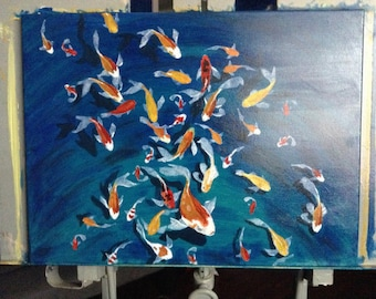 "Large Oil Painting Wall Art On Fine Art Board By Debbie Blevins - Koi Gathering. Size 18"" X 24"", on canvas  by Debbie Blevins Art Studio"