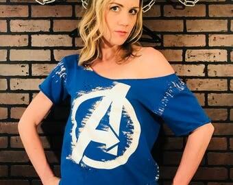 Avengers-T-Shirt-Distressed Tee-Avengers Marvel Destroyed tee-t-shirt-Pop Culture-Tour Shirt-Bleached-t shirt-Band-Punk Rock-Comic Book