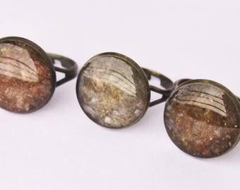 Subtle sparkly copper ring