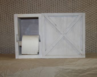 Toilet paper holder.  Bathroom cabinet storage. Farmhouse style