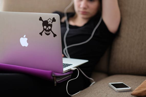 Cross Bones and Skull, Girly Skull, Sticker for Macbooks and other Laptops, Decals for Laptops, Pirate Girl, Macbook decal, mac