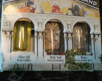 Trio From the Holy Land  (Olive Oil/Galilee, Holy Soil/Jerusalem & Water /Jordan River)