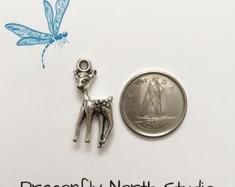 fawn charm - baby deer charm - deer fawn charm - whitetailed deer fawn charm - antiqued silver tone charm