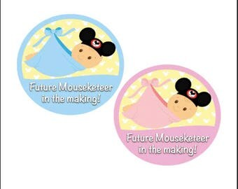 Baby Mouseketeer Inspired Button - Pregnancy Announcement Pin - Gender Reveal Button - Baby Shower Badge - Disney Park Pin - Disney Baby Pin