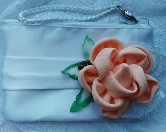 Peach Bridal clutch Bridesmaid clutch Bridesmaid purse Wedding clutch Bride clutch Bridesmaid bag  Clutch flower Peach wedding Wedding purse