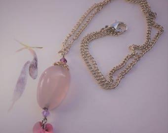 Rose quartz silver plated pendant with pink Swarovski heart  small purple Swarovski bicones