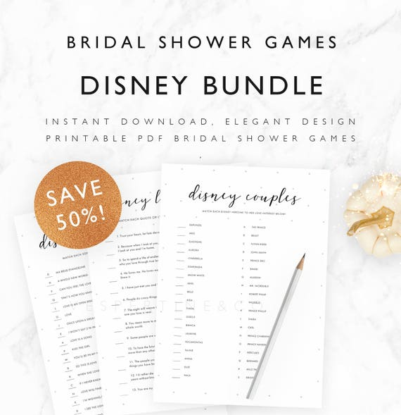 50% off! Disney Bridal Shower Games Printable Bundle - Disney Match Up Games Package, Disney Games - Pale Stars - A4, US Letter, 5x7