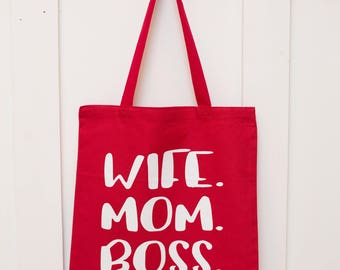 "100% Cotton tote bag - Red/White ""Wife. Mom. Boss"""