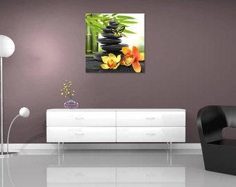 Table Zen Pebble Orchid, wall painting, digital art, digital, digital art print