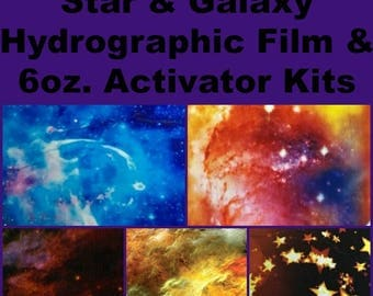 Hydrographic Dip kit with 6oz activator and 1 Linear Meter of Hydrographic Film Star & Galaxy Prints