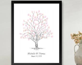 Twisted Oak Tree Thumbprint Guestbook Print, Fingerprint Guest Book, Wedding, Bridal Shower, Family Reunion, Alternative (8 x 10- 24 x 36)